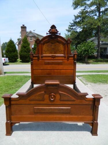 High Back Walnut and Burl Victorian Bed~~FULL SIZE~~ circa 1875 Fancy Crest