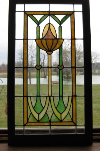 ANTIQUE ART NOUVEAU STAINED GLASS WINDOW - ca. 1910