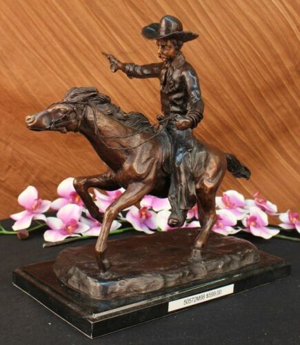 Handcrafted bronze sculpture SALE Base Marble Charges Cowboy Remington Signed *