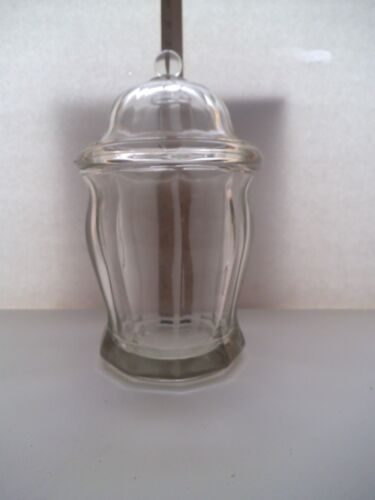 """VINTAGE HEAVY LARGE LEAD CLEAR GLASS JAR WITH LID 10"""" HIGH X 6"""" WIDE"""