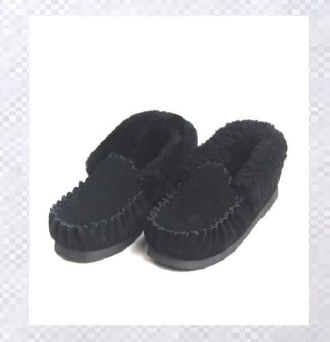Sheepskin Moccasin Australian Lambskin Black Slippers Boot Mens Womens Ladies