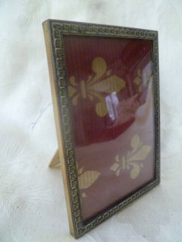 Vintage Small Gold Metal Picture Frame DENMARK w/ Convex Glass