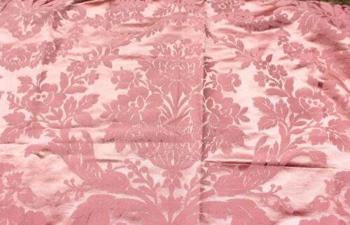 Antique Large Peach/Pink French Silk Fabric Panel c1910~Home Dec
