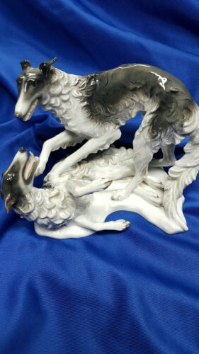 ANTIQUE ROSENTHAL PORCELAIN RUSSIAN WOLFHOUNDS BORZOI DOG FIGURINE  MINT!!