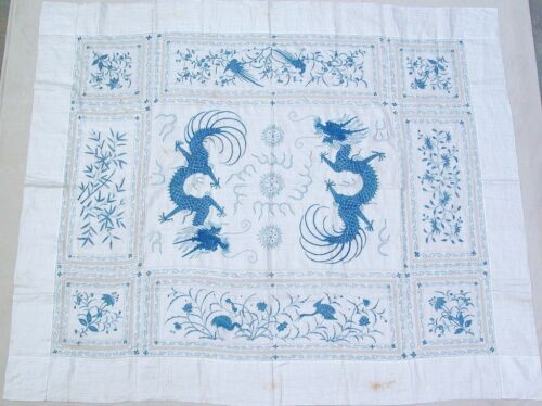 """Rare Antique Chinese Linen Embroidery DRAGON Blue & White Coverlet (91"""" x 77"""")"""