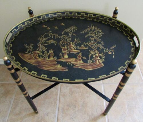 Asian Chinoiserie Tole Tray Table