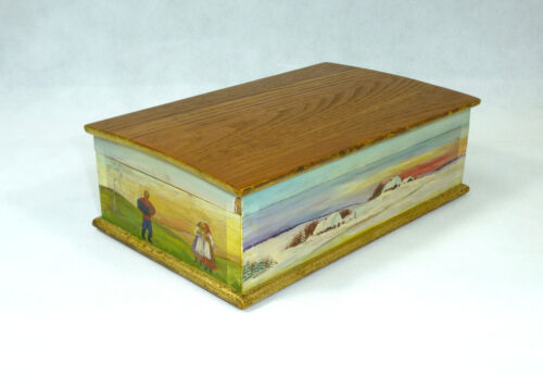 Unusual Hand-Painted Casket Wooden Box Can Russia Um 1900