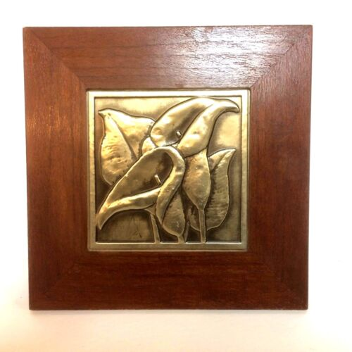 Vintage Bruce Fox Hand Worked Brass Copper Bronze Wall Plaque Of Calla Lilies