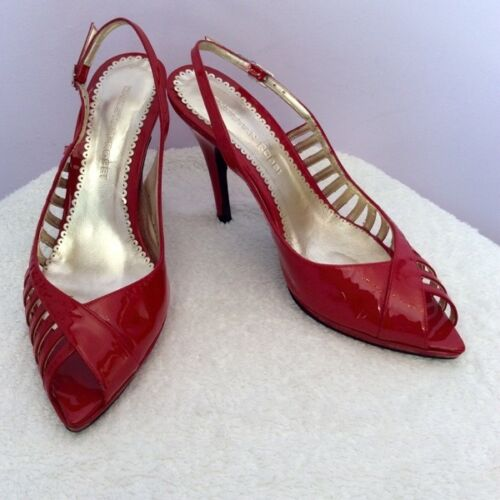 CHRISTIAN ROSSI RED PATENT LEATHER SLINGBACK HEELS SIZE 6