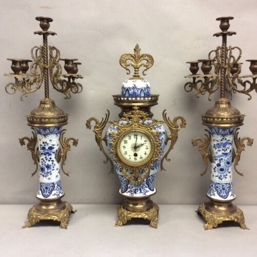 """Antique Delft 3 Pc. Clock Set Blue And White 24"""" Tall"""