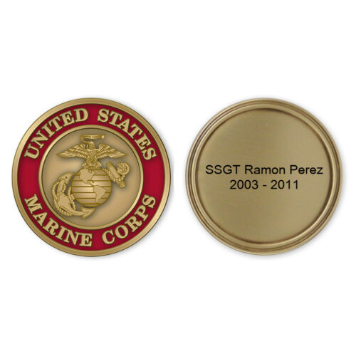 Brass Marine Coin enamel color filled and personalized USMCCN402P. Made in USA.Marine Corps - 66531