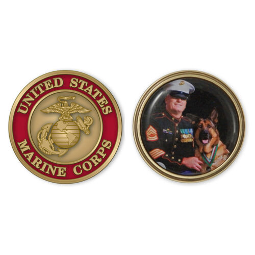 Brass Marine Coin with color fill image personalization USMCCN402I. Made in USA.Marine Corps - 66531