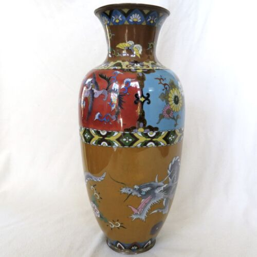 "BIG 18.45"" Antique Japanese Meiji Cloisonne Vase with Phoenix Birds & DRAGON"