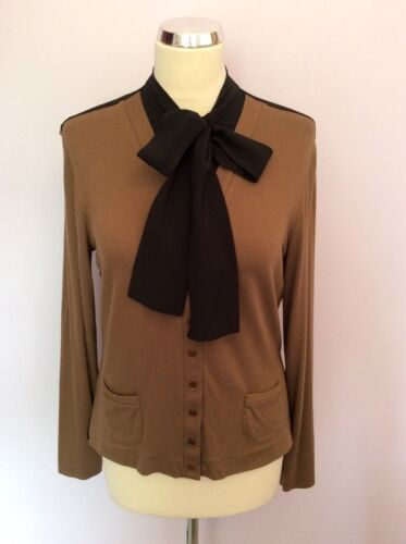 ISABEL DE PEDRO BLACK & BROWN PUSSY BOW TIE LONG SLEEVE TOP SIZE 14