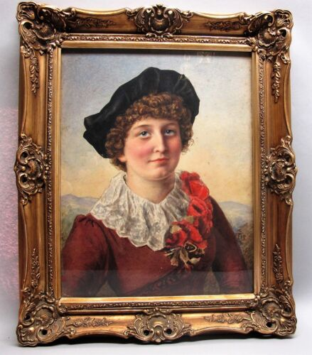 Fine 19th C. ENGLISH WATERCOLOR PAINTING of Victorian Girl  c. 1885  antique