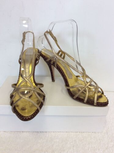 MAGRIT BROWN SNAKESKIN & GOLD LEATHER STRAPPY HEELED SANDALS SIZE 5/38
