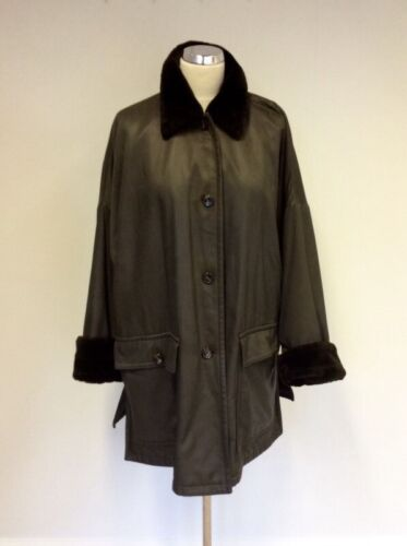 CERRUTI CLUB BROWN FAUX FUR TRIM JACKET SIZE 10