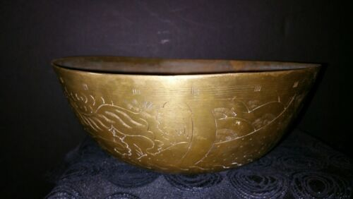 Antique Handcrafted Chinese Brass Engraved Bowl