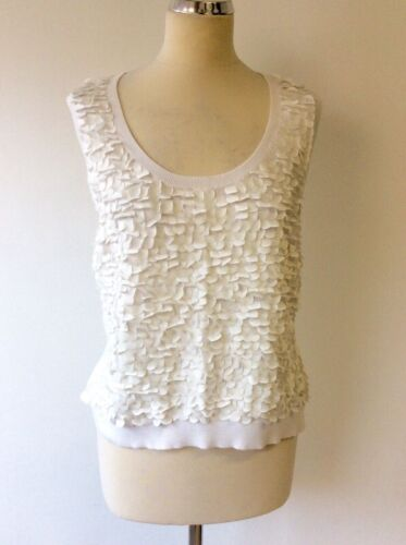 COAST WHITE SCALE FRONT FINE KNIT SLEEVELESS TOP SIZE 16