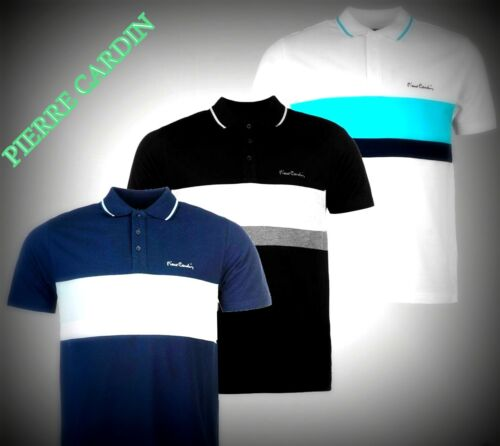 NEW Mens Pierre Cardin Short Sleeves Contrasting Stripe Polo Shirt Size S-4XL
