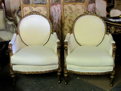 Pair of Ornately Gilt Baroque Renaissance Revival Bergere Chairs
