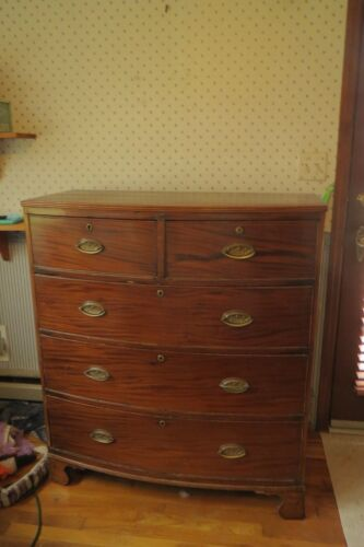 VINTAGE 1920 Georgian Bow Front Mahogany Dresser/Chester Drawers