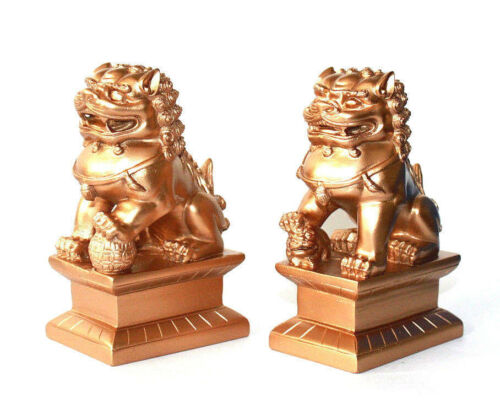 """Feng Shui Oriental Red Fu Foo Dog Home Protection Lions Guardians SET 4"""" Tall"""