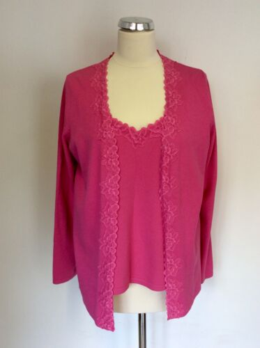 SAMOON PINK LACE TRIM CAMISOLE TOP & LONG SLEEVE CARDIGAN SIZE 16