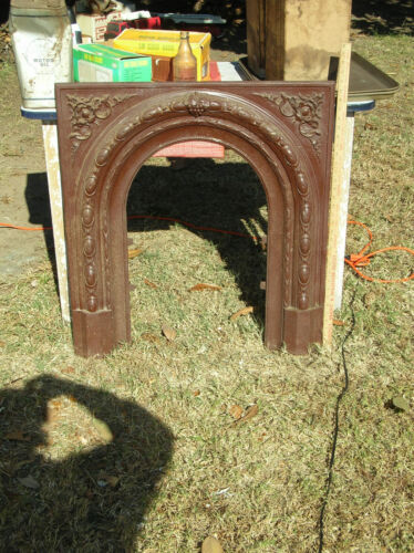 """Early Cast Iron Fireplace Mantel Insert Architectural Salvage- 31"""" X 32""""- Solid"""