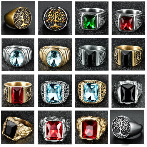 Fashion Vintage Mens Stainless Steel Gothic Masonic Biker Rings Jewellery lots