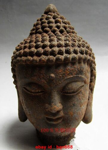 RARE Old Chinese Buddhist Fengshui Iron Carved Buddha head Statue