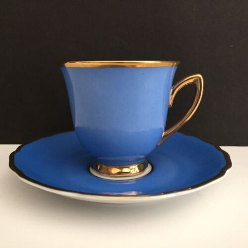 RGK CZECHOSLOVAKIA Demitasse Tea Cup and Saucer Blue Trimmed in Gold