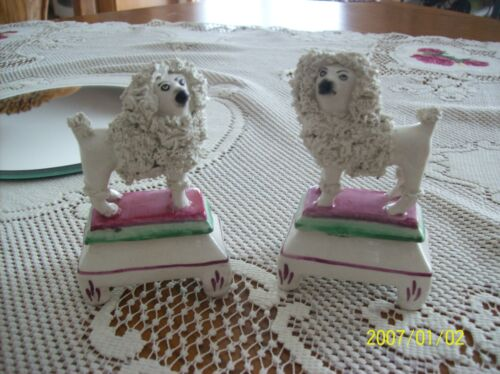Staffordshire Antique Ceramic Standing Poodle's On Pedestal 1850-1910 Set