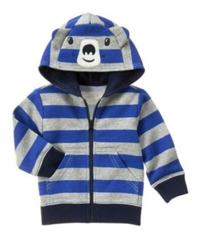 GYMBOREE BUFFALO LODGE BLUE & GRAY STRIPE w/ BEAR FACE HOODED JACKET 6 12 18 2T