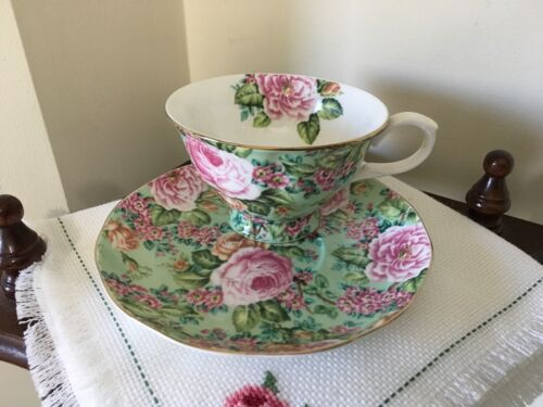 EDWARDIAN collection Chintz Floral fine bone China Cup & Saucer England