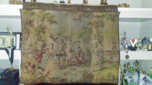 VINTAGE BELGIUM Tapestry Wall Hanging Table Covering 40 x 55 Antique Pre-1930