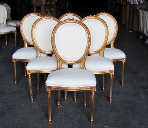 Six Stunning Gilt French Louis XVI Dining Chairs Rosette Crest