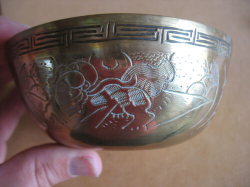 VTG 12 CHINESE INCISED SOLID BRASS soup food BOWLS some Marked dragon mtns