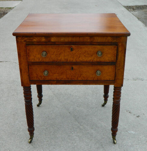 Maple Two Drawer Work Side Table