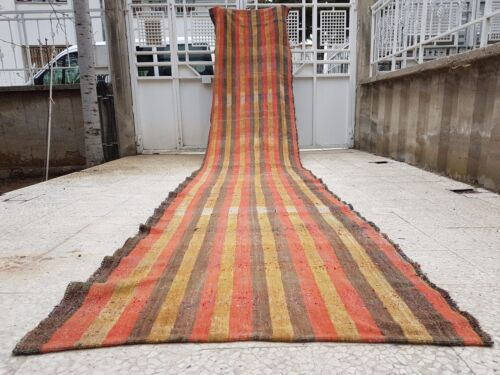 18 foot Long Handwoven Faded Color Cotton Stair Hall Turkish Kilim, Wide Runner