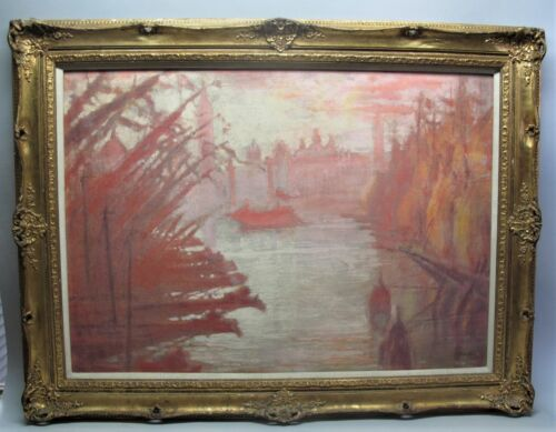 Original Large Antique Oil Painting of Venice  SIGISMOND JEANES (French) c. 1915