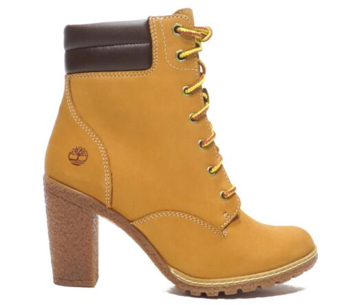 Timberland Women's Tillston 6 inch High Heel Wheat Leather Boots Style A1KJH