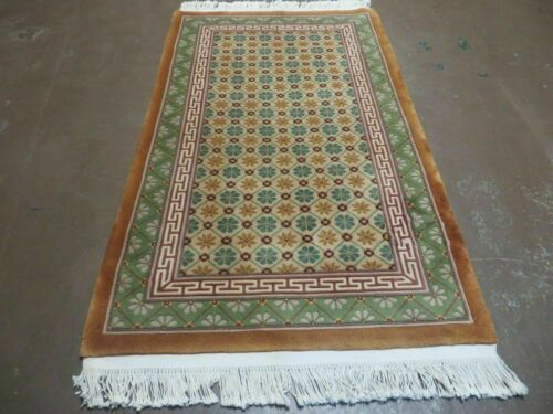 3' X 5' Vintage 1970s Hand Made Chinese Art Deco Wool Rug STARS Nice Colorful