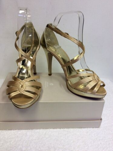 MONSOON GOLD SATIN STRAPPY HEEL SANDALS SIZE 6/39