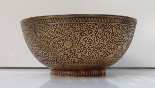 Antique Indo Persian Bronze Bowl Middle Eastern