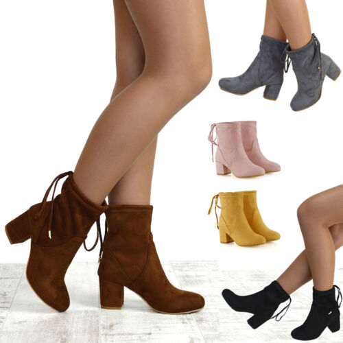 Womens Ankle Boots Chelsea Block Heel Stretch Ladies Pull On Booties Size 3-8