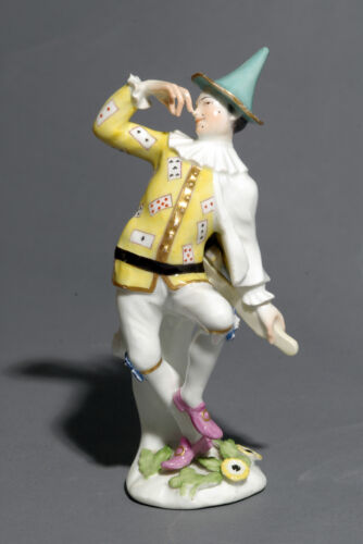 A Meissen Commedia dell'arte Figure of Harlequin, Weissenfeld series circa 1744