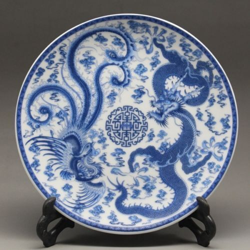 Chinese Blue and white Porcelain painted dragon phoenixPlate Qianlong Mark