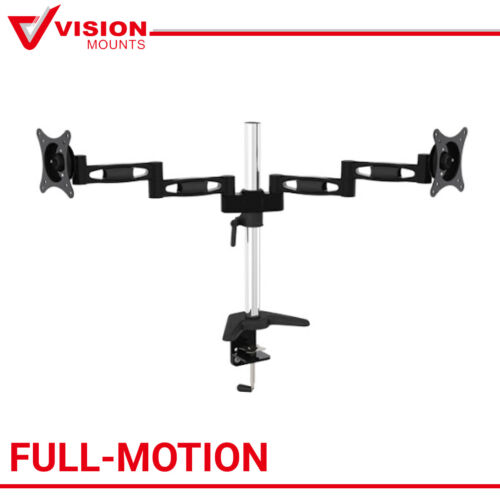 "Dual Monitor TV Mount Stand 2 Arm to 27"" 8KG each Bracket Vision Mounts VM-D23"