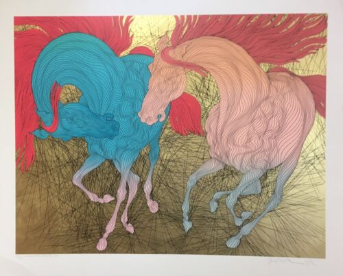 """GUILLAUME AZOULAY """"ENCOUNTER REPRISE"""" SERIGRAPH ON PAPER GOLD LEAF H/SIGNED COA"""